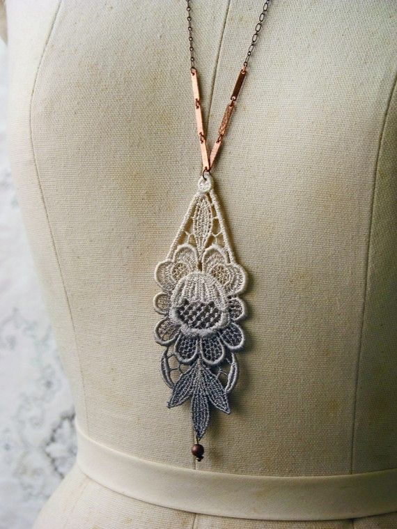 gradient dyed lace necklace