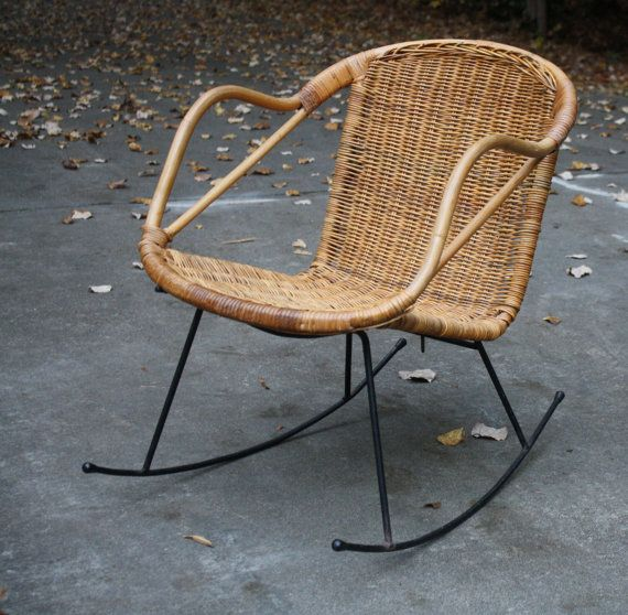 mid century danish modern style wicker rattan rocking chair with black iron legs