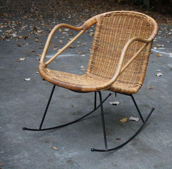 Mid Century Danish Modern Style Wicker Rattan Rocking Chair with Black Iron Legs