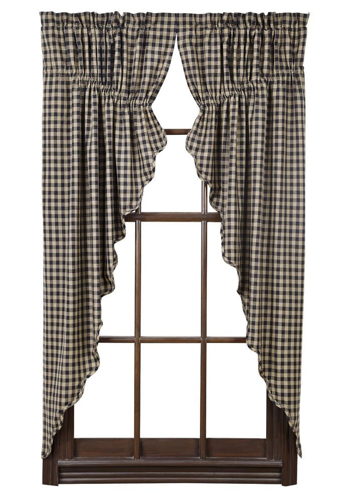 Details About Black Check Scalloped Prairie Curtain Set