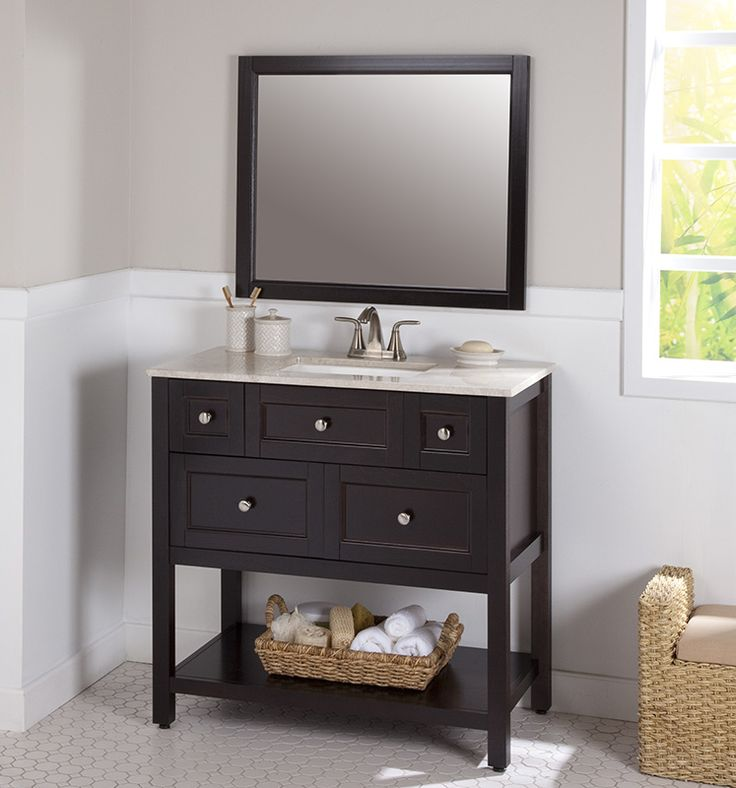 would hold all the bathroom necessities paul ashland 36 inch combo with stone effects vanity top and wall mirror in chocolate home depot canada