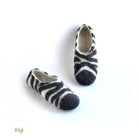 Felted slippers ZEBRA  black and white  natural wool by RitaJFelt, $65.00