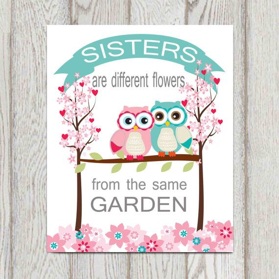 Sisters bedroom wall art decor Quote Twin girls by DorindaArt