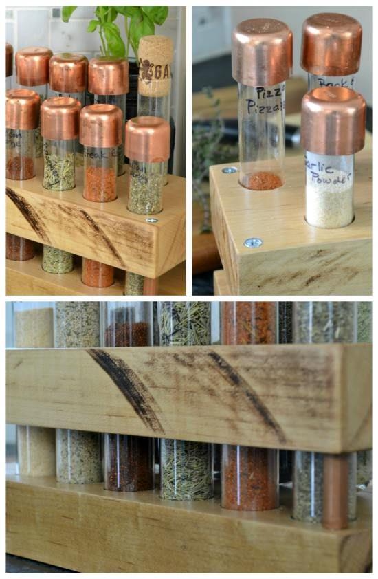 diy spice rack with test tubes kitchen dreaming pinterest k cheneinrichtung. Black Bedroom Furniture Sets. Home Design Ideas