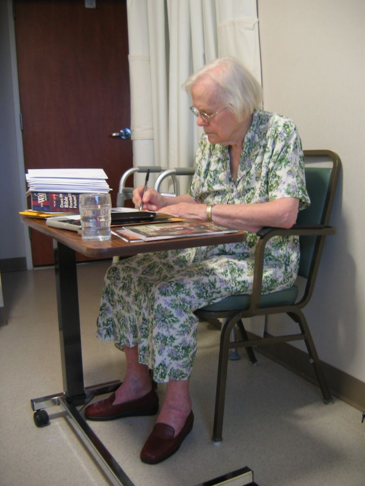 My mom (Irene) doing letter writing in her room in the Watchtower Farm infirmary (Roger Johnson)