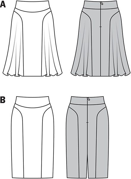B7069 Burda Style Skirt Chic, trendy skirts, interesting seam lines, with shaped, slightly raised waistband. The side gores make the difference. Either swinging skirt or narrow silhouette.