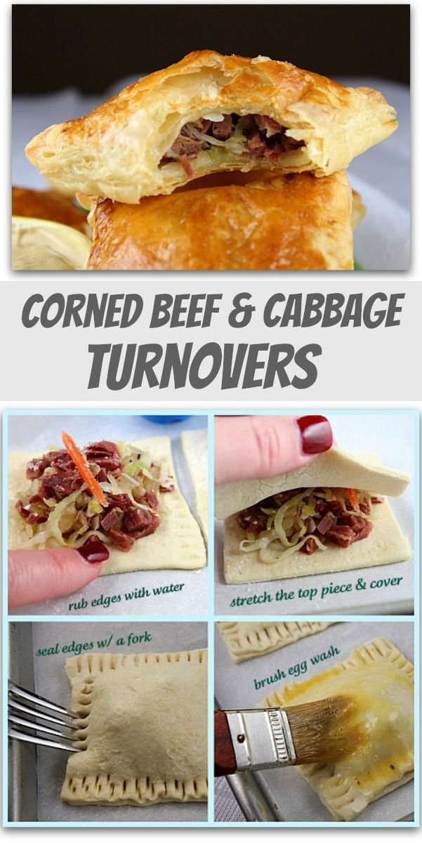 Corned Beef and Cabbage Turnovers : a fun appetizer recipe for St. Patrick's Day... and a good way to use up leftovers too!
