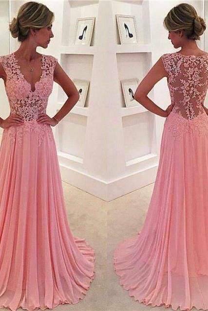 Custom Long Prom Dress,Pink Prom Dresses,Lace Prom Dress,cheap Prom Gowns, Evening Dresses, Formal Dress, Homecoming Dresses, Graduation Dress, Party Dress