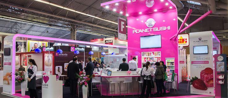 Habillage du stand Planet Sushi  /  Un stand pour découvrir leur concept et leur cuisine japonaise revisitée   #Franchise Expo 2013