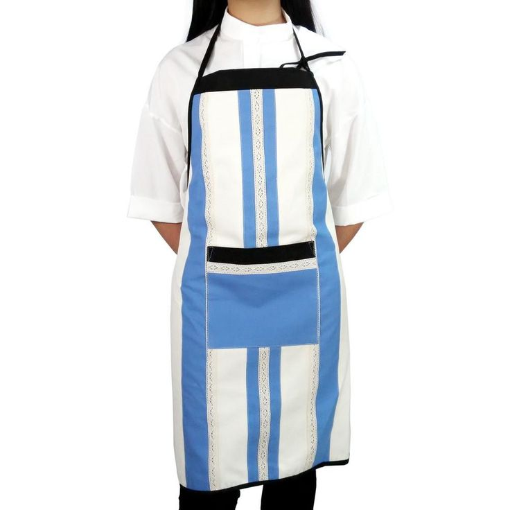 [Blue Vertical Bar] Patchwork Chef Work Apron Durable Women Men Apron withPocket