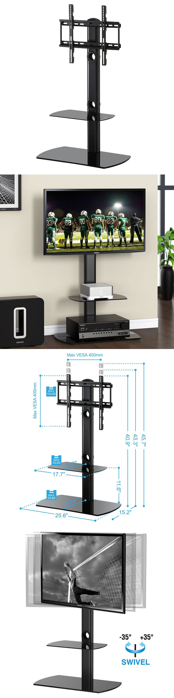 Entertainment Units TV Stands 20488: Fitueyes Tv Universal Stand Shelf With Mount Brackets Fits 32-50 Plasma Lcd Tvs -> BUY IT NOW ONLY: $78.84 on eBay!