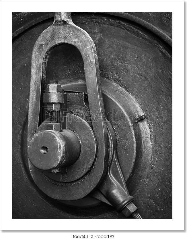 Detail of the mechanism of an old industrial machine art print from freeart