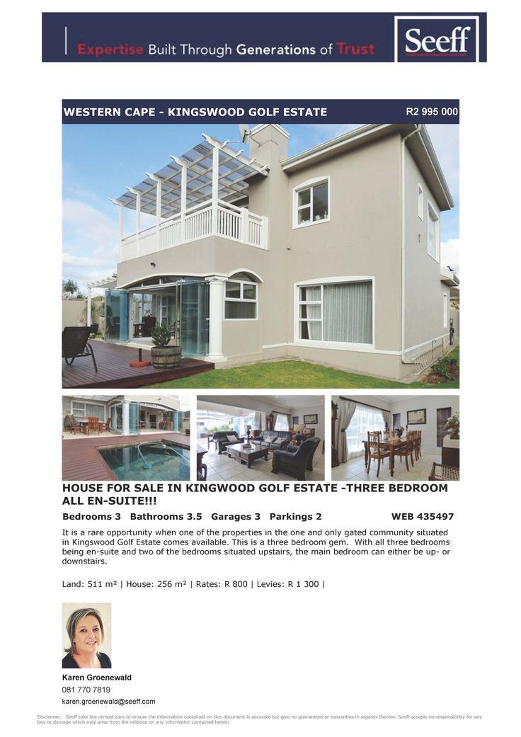 #seeff #golf #estate #forsale #property #george #gardenroute #westerncape  House for Sale in Kingwood Golf Estate -Three Bedroom All En-Suite!!!  www.seeff.com/Details?webref=435497  Karen Groenewald 081 770 7819