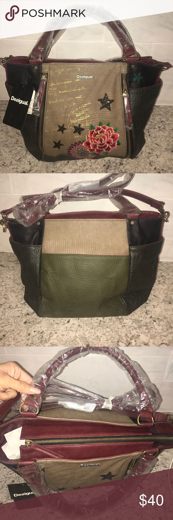 Desigual Bols Sevilla Camila handbag NWT! This zipper front detailed purse is adorable! The front has gold popping through the taupe, with burgundy interior and handles. Desigual Bags Shoulder Bags