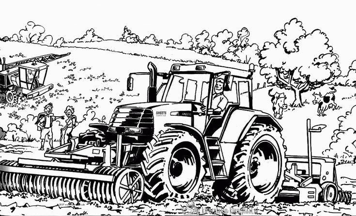 kleurplaat tractor kleurplaten pentekeningen kleuren