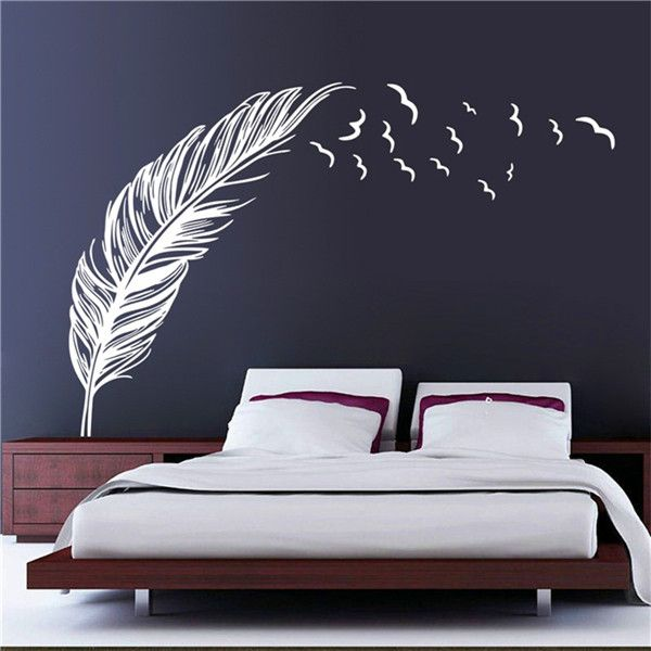 6colors vinyl wall sticker birds flying feather decal bedroom wall home mural art decor