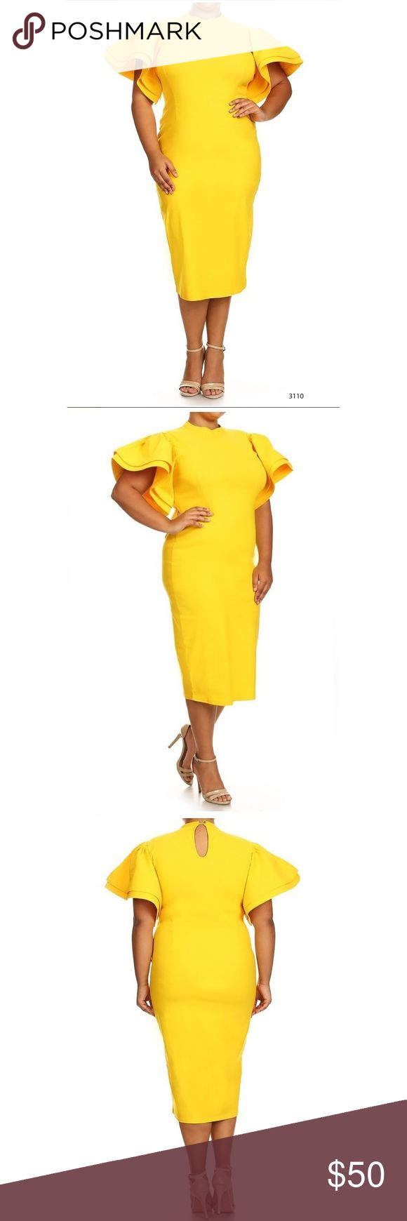 Yellow Ruffle Accent Midi Dress Regular/Plus Size Yellow Ruffle Accent Midi Dress Plus Size. Gorgeous yellow regular or plus size midi dress with ruffle accents. Perfect dress. Made of stretchy polyester material. Dresses Midi