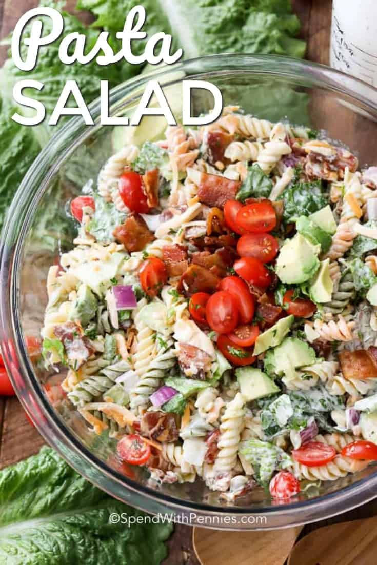 9afca4e52 BLT Pasta Salad turns a classically perfect flavor combo into a fun summer  dish that everyone will rave about! Crispy bacon, lettuce, tomato, ...