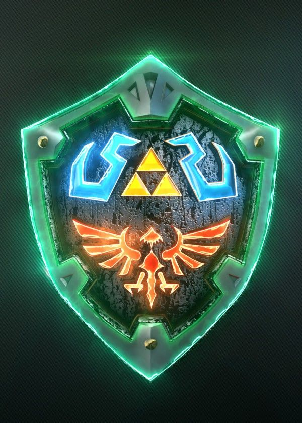 3D Link Hylian Shield. (modeling in Autodesk Maya,post-production, edition #game #gaming #video #design #poster #metal #displate #home #decor #homedecor