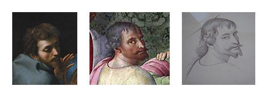 Raffaello: Transzfiguráció részlete, Perugino: Iskarióti Júdás tükrözött képe az Utolsó vacsorán, illetve a figura vázlatának tükrözött képe
