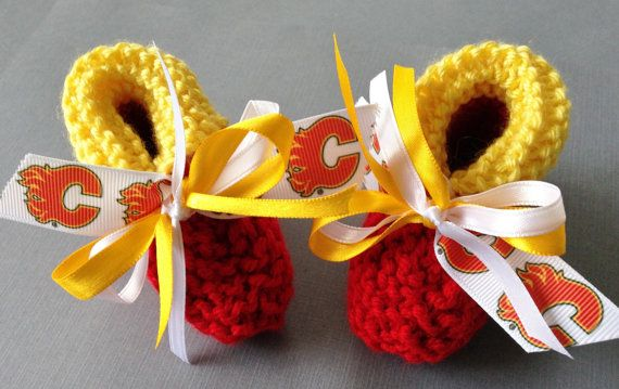 Calgary FLAMES Hockey Fans Handmade Baby Booties  by ZZsTeamTime