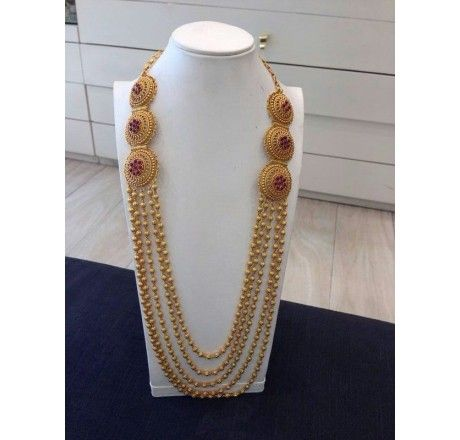 SKU- RPSN06986-Gold plated sterling silver necklace inspired from old south indian jewellery perfect for wedding season