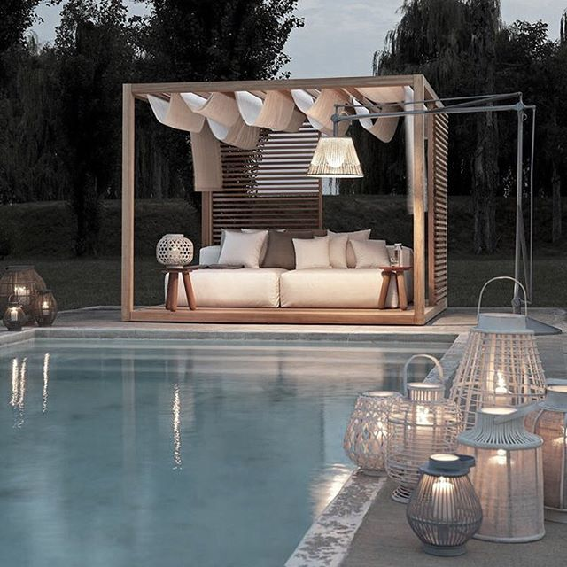 Exteta are known for their high end structures such as gazebos used as outdoor kitchens, bathrooms and luxury spas and comfy sofas. Designed by Ludovica+Roberto Palomba, available exclusively at Pure Interiors. #Exteta #zenline #madeinItaly