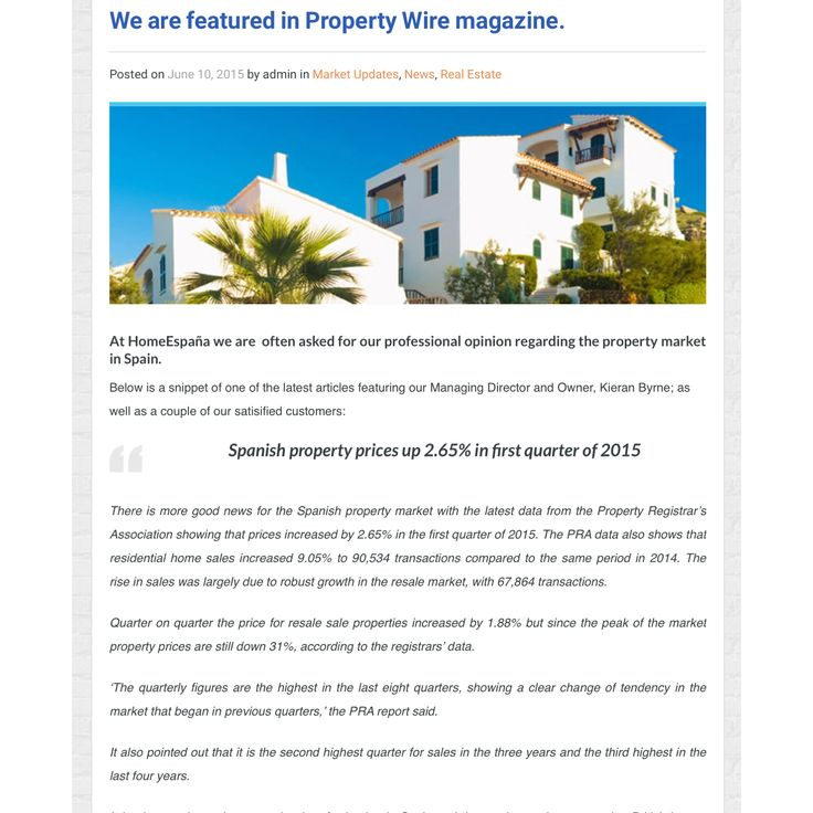 Check out our feature in Property Wire magazine! HomeEspana is often asked for its professional opinion on the Spanish property market, so you know you can trust us! Read the article on our website here: http://www.homeespana.co.uk/homeespana-featured-in-property-wire-magazine/ #realestate #spain #spanishhomes #dreamhomes