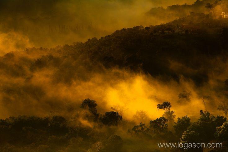 Above the clouds at sunset in Cerro verde national park in El Salvador