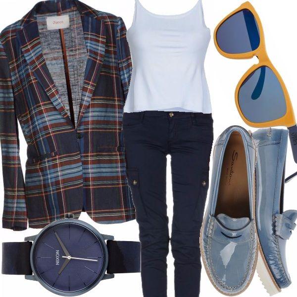 Outfit primaverile in cui il tocco di stile è dato dalla particolare giaccca che donerà molto soprattutto a chi possiede una carnagione scura dal sottotono freddo.