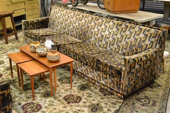 A 1960S DARIO ZOUREFF LOUNGE SUITE OF FOUR SEAT SOFA AND MATCHING TWO SEAT $850