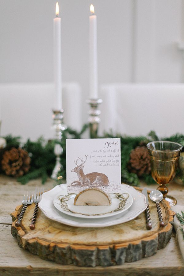 #Wood Round Chargers with Hand Drawn Deer #Escort Cards | Jacque Lynn Photography and Michelle Leo Events | Enchanting Woodland Wedding Shoot with Rustic Winter Details