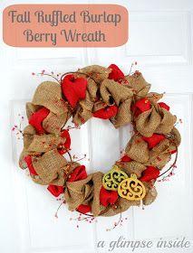 A Glimpse Inside: Fall Ruffled Burlap Berry Wreath