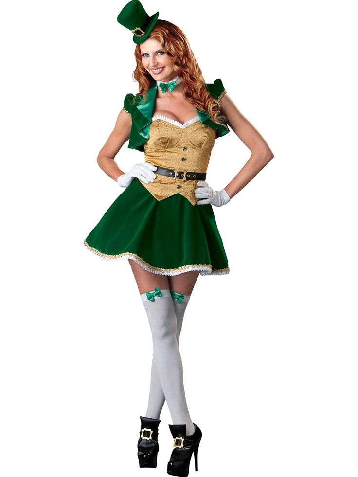 Lucky Lass Lady Leprechaun Costume Set - Calgary, Alberta. This leprechaun costume is perfect for St. Patricks Day celebrations, Parades and even works at Halloween for a fun and unique costume idea.   Bring some luck to the table this St. Patrick's Day in this cute Lucky Lass Leprechaun ladies costume.  This Leprechaun costume is a cute dress that zippers in the back, the top of the dress is a brocade material that looks like an over vest.