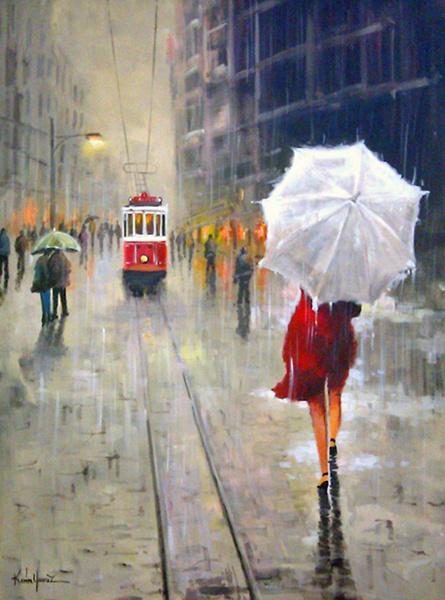Taksim - Kırmızı Paltolu Kadın