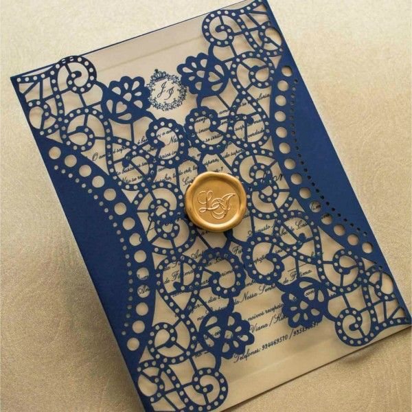 Convites de casamento tradicional - a laser - por Papel e Estilo - Loja de Convite Online - www.lojadeconvite.com.br