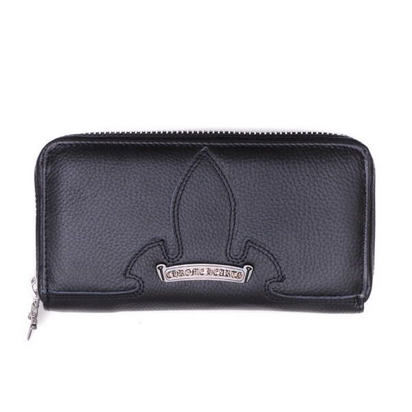 Chrome Hearts Flare Knee Leather Zipper Wallet Black