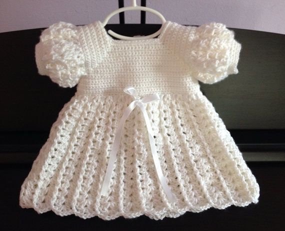 Crochet Baby Dress, Baptism Blessing Christening