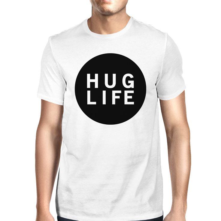 Hug Life Men's White T-shirt Cute Design Round-Neck Shirt