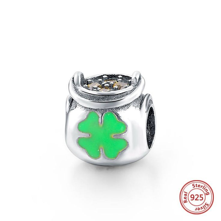 Pentola d'oro con smalto verde e CZ Gialli 100% argento sterling 925 adatta misure Pandora charm Pandora bead Braccialetto europeo SG05018 di OceanBijoux su Etsy
