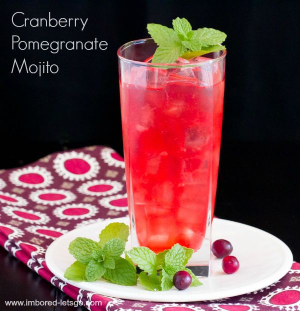 Cranberry Pomegranate Mojito - a nice cocktail for the holidays with a ...