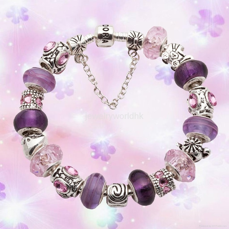 Purple and pink Pandora bracelet