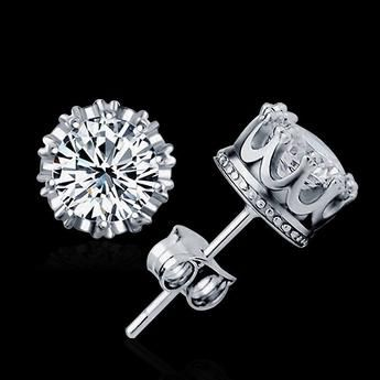 2 Carat Cubic Zirconia Silver Plated Stud Earrings for Women