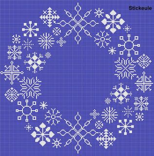 Snowflake cross stitch freebie... I just want the snowflake ideas/designs for a project in my head