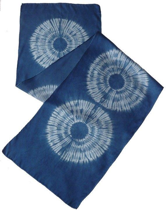 Silk charmeuse, indigo dyed shibori scarf