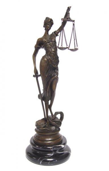 Justitia Justizia Göttin der Gerechtigkeit Anwalt Bronze Statue Marmor Skulptur L
