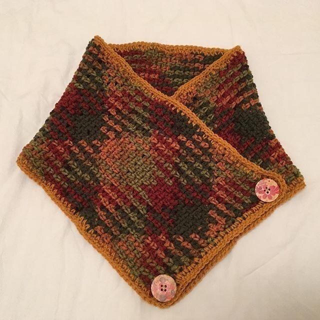 #crochetcowl !  My first #plannedpooling project! #plannedpoolingcrochet #cowl #redheartyarn via @thepatchworkfairy