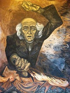 Jose Clemente Orozco: A painting of Miguel Hidalgo y Costilla, Jalisco Governmental Palace, Guadalajara.