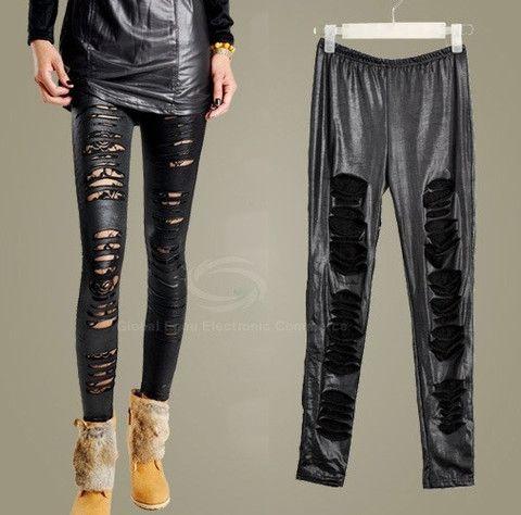 Stylish Rip Design Lace Embellished Legging – teeteecee - fashion in style