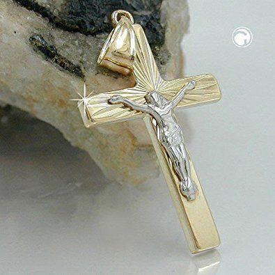 Kreuz Anhänger Kreuzanhänger gold 375 Jesus gold, Jesuskreuz bicolor, 9 Kt GOLD: Amazon.de: Schmuck